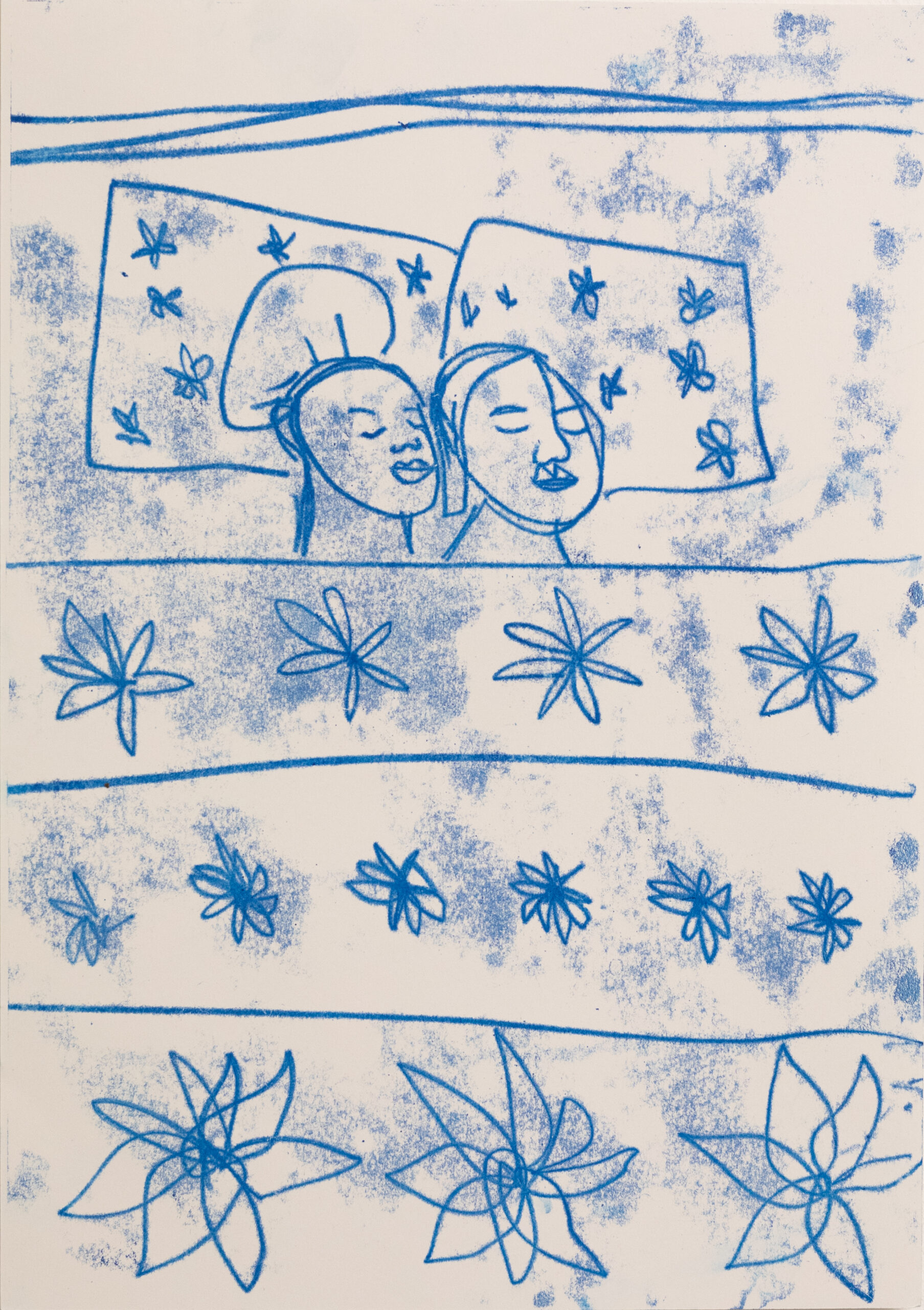 Sola Olulode-A3 Monoprint on Paper-Flowery sheets-2021-close up-volta