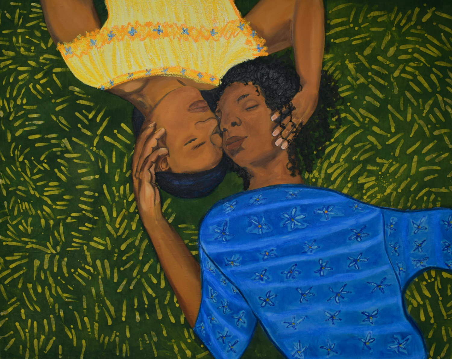 sola-olude-Laying In The Grass II 2020 - Ink - oil - oil pastel - oil bar and wax on canvas - 122 - 152 cm