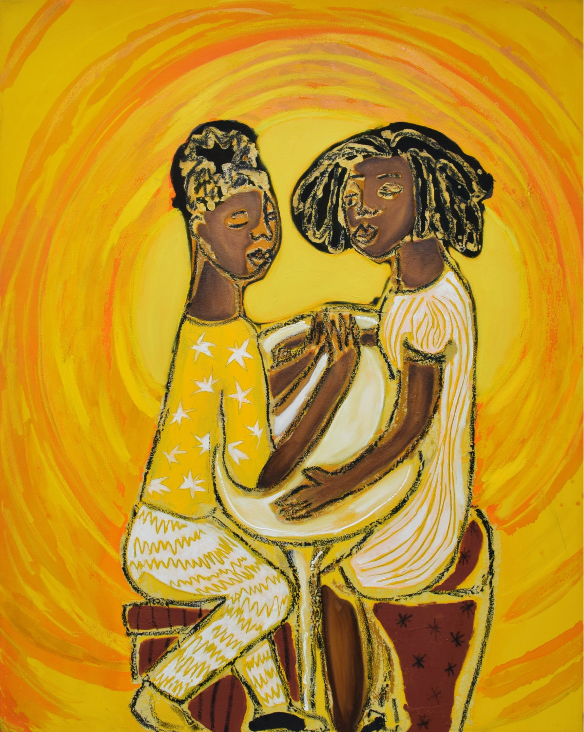 sola-olude-Lunch Date 2020 - Ink - acrylic - pastel and wax on canvas - 122 - 152 cm